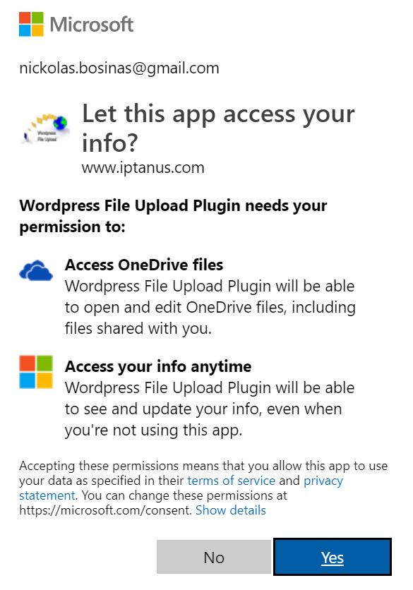 Microsoft OneDrive Uploads with Wordpress File Upload Plugin